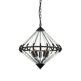 Gerda Contemporary 5 Light Ceiling Fitting In Black Finish PG1702/05/BLK