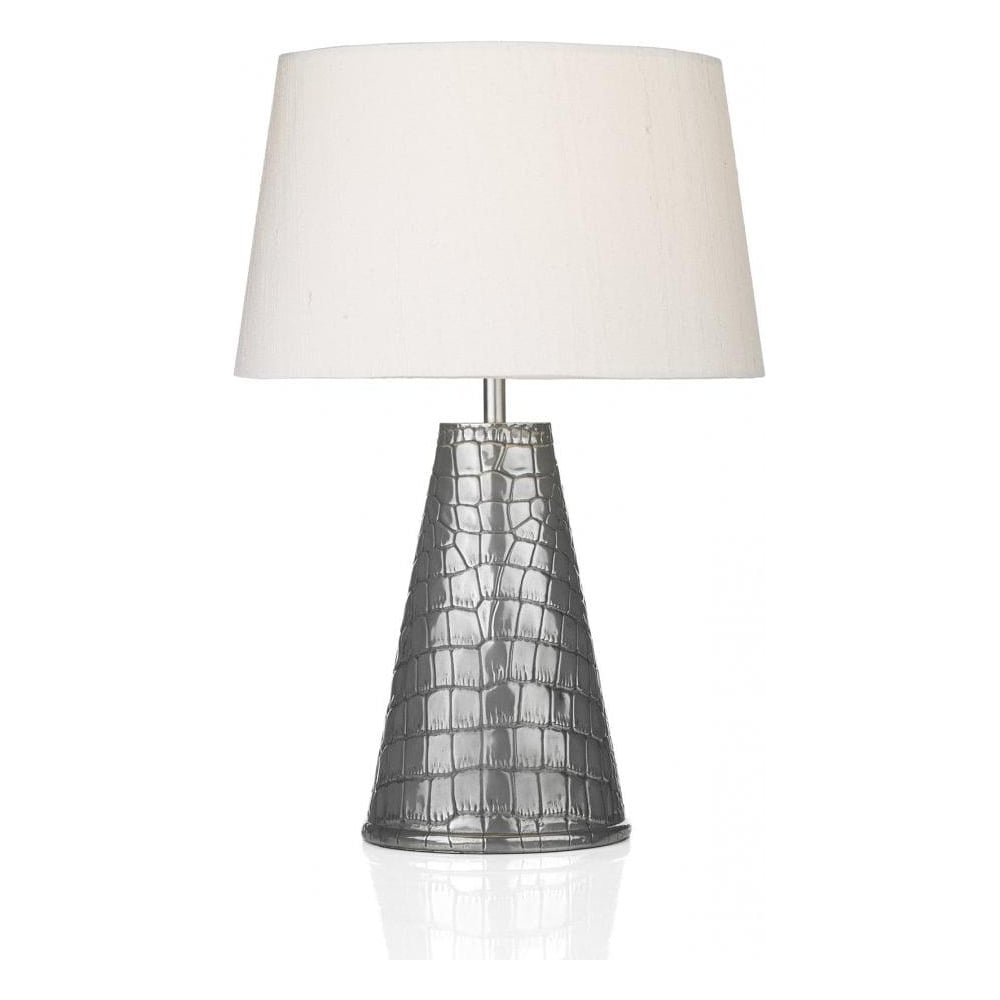 home lighting dar lighting ghara pewter table lamp with silk shade. Black Bedroom Furniture Sets. Home Design Ideas