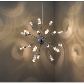 Glacier Contemporary Eighteen Light Ceiling Pendant In Chrome Finish 73046