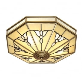 Gladstone 4 Light Tiffany Flush Ceiling Fitting in Antique Brass Finish SN03FL46