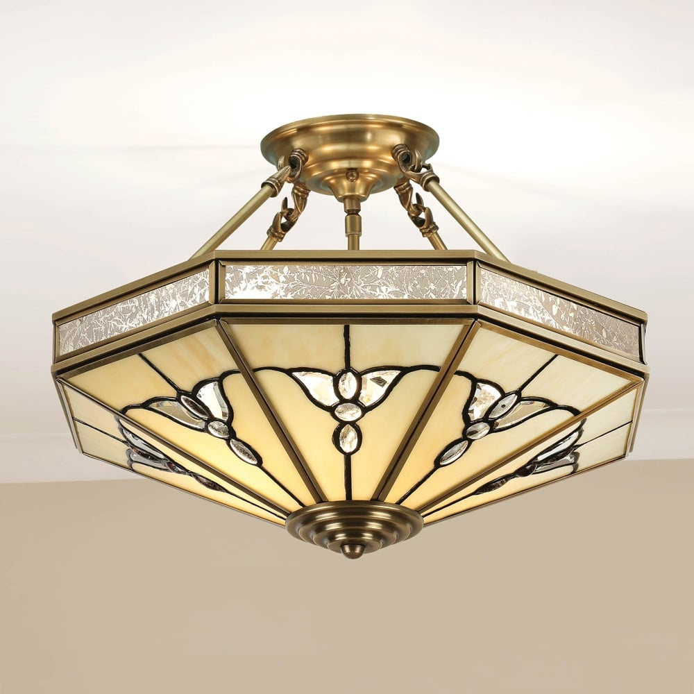 Interiors 1900 Gladstone 4 Light Tiffany Semi Flush Ceiling Fitting In Antique Brass Finish Sn03p46 Lighting From The Home Lighting Centre Uk