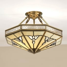 Gladstone 4 Light Tiffany Semi Flush Ceiling Fitting in Antique Brass Finish SN03P46