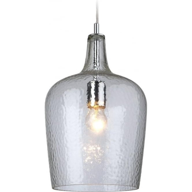 Firstlight Glass 1 Light Clear Finish Dimple Effect Ceiling Pendant 2301