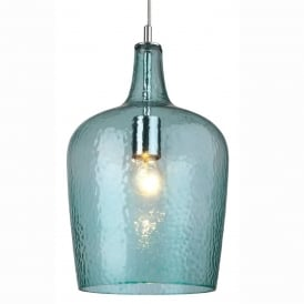 Firstlight Glass Pendant Aq Chrome With Aqua Glass