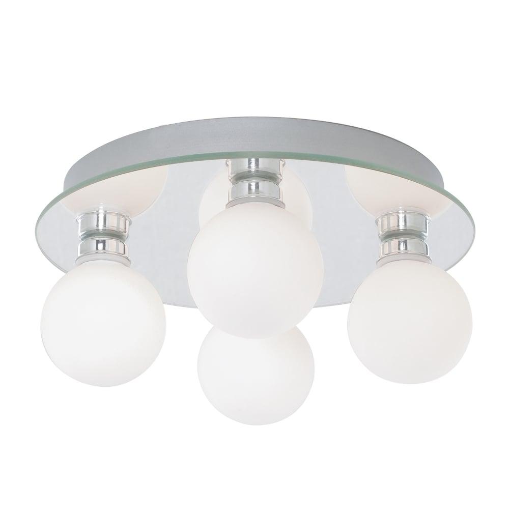 Global bathroom led four light flush ceiling light with opal glass shades 4337 4 led