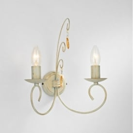 GRA0933 Grace 2 Light Cream & Gold Wall Light