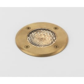 Gramos Round Outdoor Decking Light In Natural Brass Finish IP65 7953