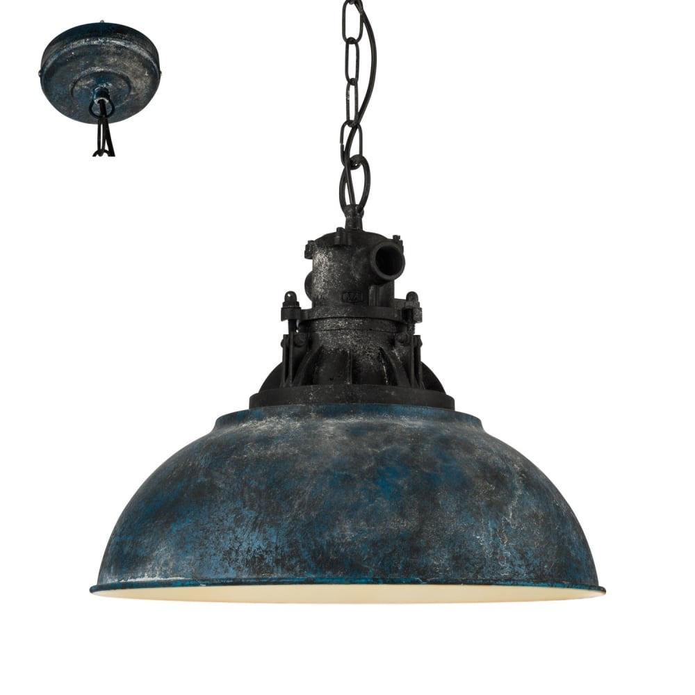 best sneakers b1673 86706 Grantham 1 Vintage Ceiling Pendant Light In Antique Blue And Black Finish  49753