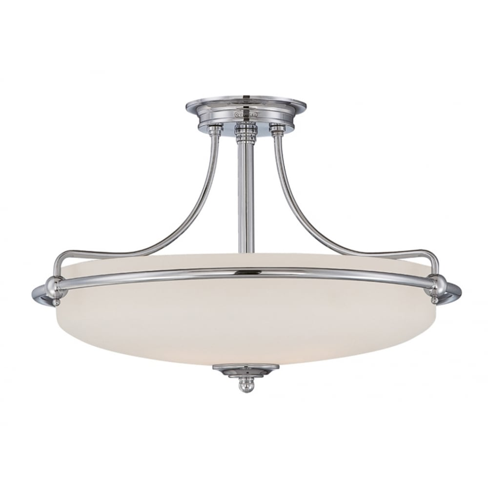 Quoizel griffin 4 light semi flush ceiling fitting in polished chrome finish qz griffin sfm c