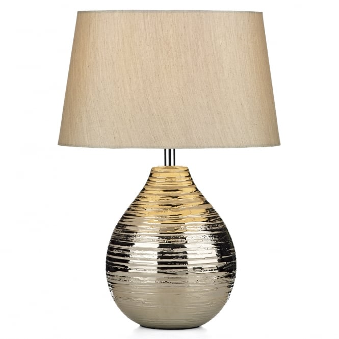 Dar Lighting Gustav Small Table Lamp With Ceramic Silver