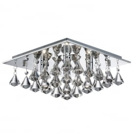 Hanna 4 Light Crystal Flush Ceiling Light In Chrome Finish 7304-4CC