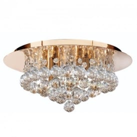 Hanna 4 Light Gold Flush Ceiling Crystal Light - 3404-4GO