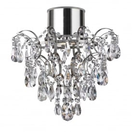 Hanna Bathroom Crystal Glass Semi Flush Ceiling Light In Chrome Finish 7901-1CC-LED