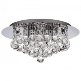 Hanna Modern 4 Light Crystal Flush Ceiling Light - 3404-4CC