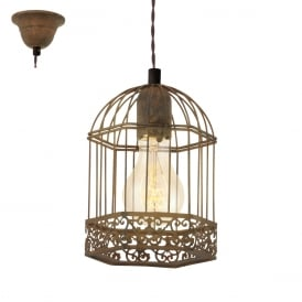 Harling Vintage Cage Ceiling Pendant In Rust Coloured Finish 49217