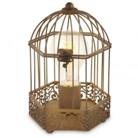 Harling Vintage Cage Table Lamp In Rust Coloured Finish 49287