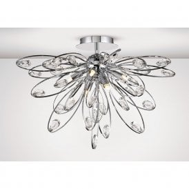 Harlow Modern 6 Light Semi Flush Ceiling Light In Chrome Finish IL31645