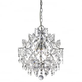Harrietta 3 Light Crystal Ceiling Pendant Fitting In Chrome Finish 7673-3CC
