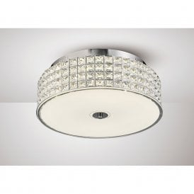 Hawthorne Large LED Round Crystal Flush Ceiling Light In Chrome Finish IL80021