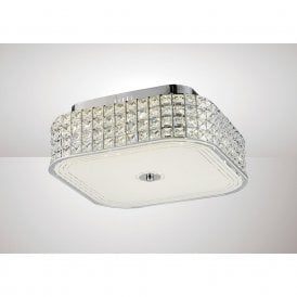 Hawthorne Large LED Square Crystal Flush Ceiling Light In Chrome Finish IL80023