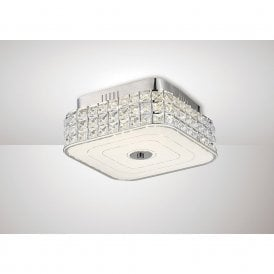 Hawthorne Small LED Square Crystal Flush Ceiling Light In Chrome Finish IL80022