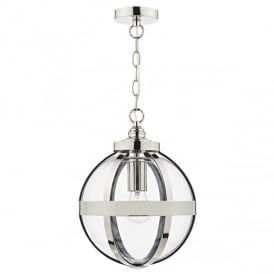 Heath 1 Light Ceiling Pendant in Polished Nickel with 100cm of Chain and Cable HEA0138