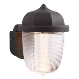Heath LED Outdoor Wall Light In Textured Black And Frosted Diffuser 70192