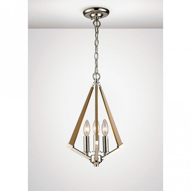 Diyas Lighting Hilton 3 Light Ceiling Pendant In Polished Nickel With Wooden Detail IL31681