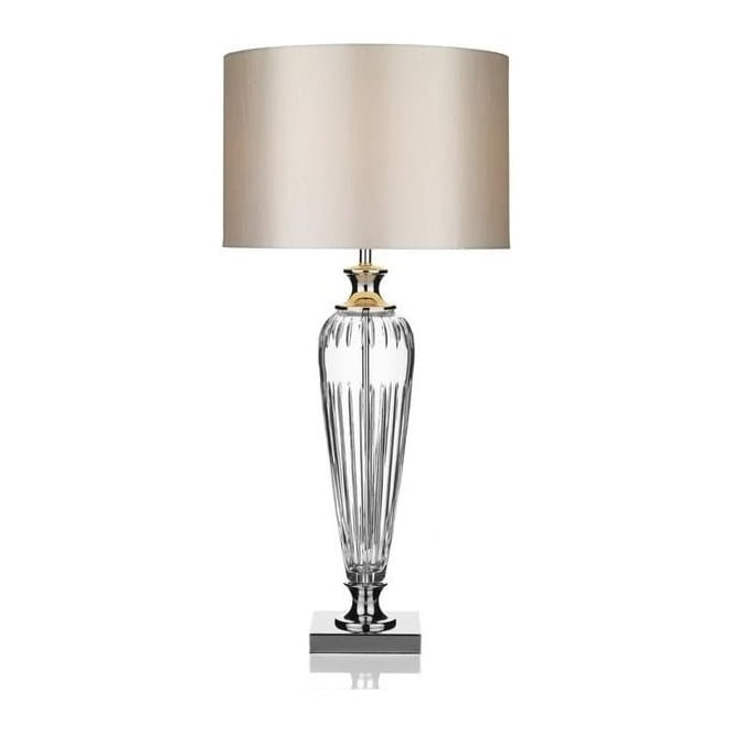 Dar Lighting HIN4208 Hinton Crystal Glass Table Lamp With Silver Shade