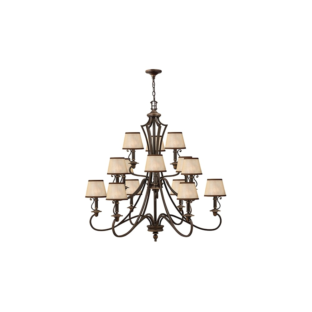 Plymouth 15 Light Ceiling Chandelier In Old Bronze Finish Hk Plymouth15
