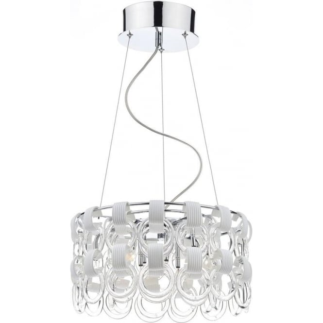 Dar Lighting HOO1350 Circle Design 9 Light Contemporary Ceiling Light in Chrome with White Glass