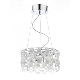 HOO1350 Circle Design 9 Light Contemporary Ceiling Light in Chrome with White Glass