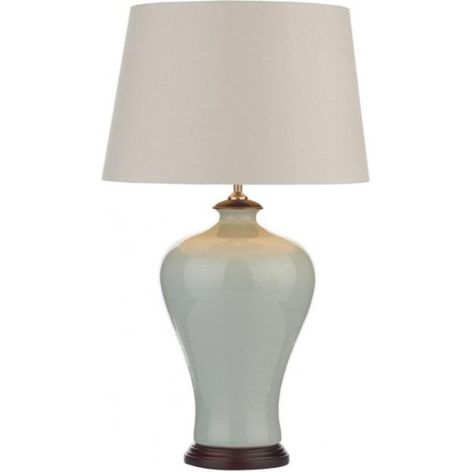 Dar Lighting HOR4223 Blue Ceramic Traditional Table Lamp with Cream Shade