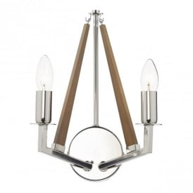 Hotel Wood And Polished Nickel Wall Light HOT0938