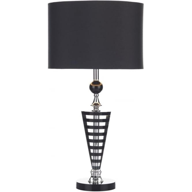 Dar Lighting HUD4222 Hudson Contemporary Black & Crystal Table Lamp with Black Shade