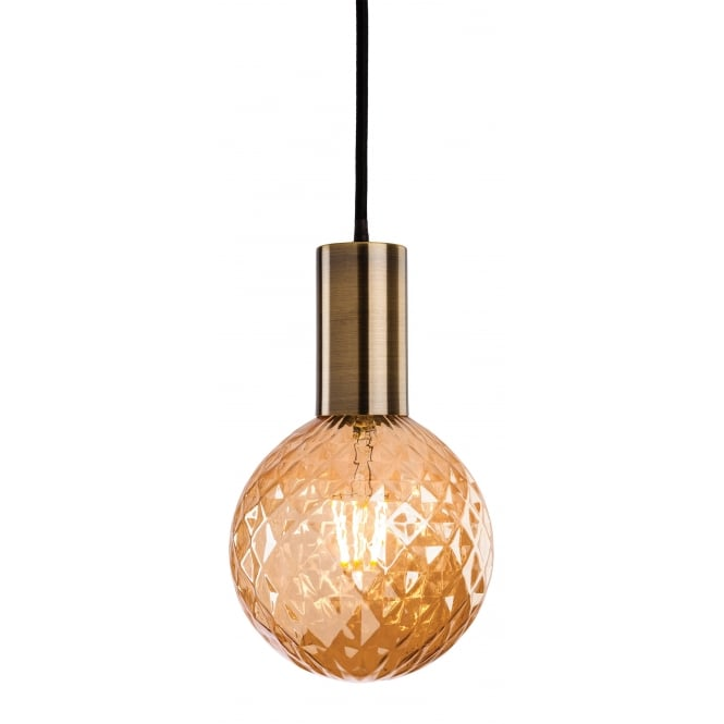 Firstlight Hudson Ceiling Pendant Light In Antique Brass Finish With Decorative LED Lamp Bulb 4931