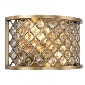 Hudson Crystal Glass Wall Light In Antique Brass Finish 70559