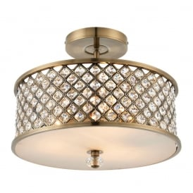 Hudson Crystal Semi Flush Ceiling Light In Antique Brass Finish 70558