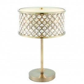 Hudson Elegant Table Lamp In Antique Brass Finish With Clear Crystal Glass 72749