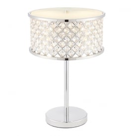 Hudson Elegant Table Lamp In Chrome Finish With Clear Crystal Glass 72747