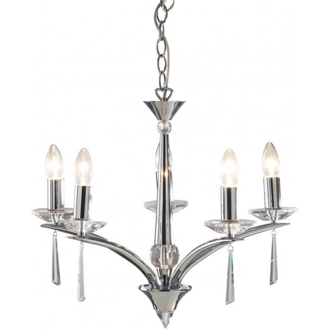 Dar Lighting HYP0550 Hyperion Polished Chrome 5 Light Ceiling Light