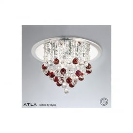 IL30008RD Atla Red 4 Light Ceiling Light