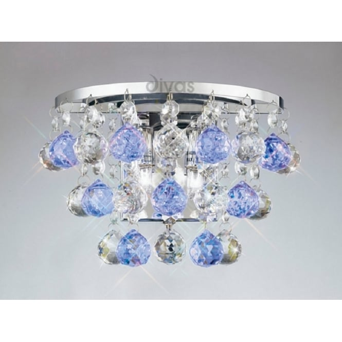 Diyas Lighting IL30014BLU Atla 2 Light Wall Bracket with Blue Asfour Crystals