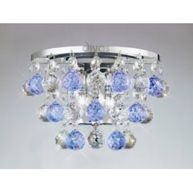IL30014BLU Atla 2 Light Wall Bracket with Blue Asfour Crystals