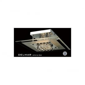 IL30023 Delmar 4 Light Square Polished Chrome Ceiling Light