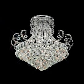 IL30027 Pearl Crystal 12Lt Semi-Flush Ceiling Lamp In Chrome