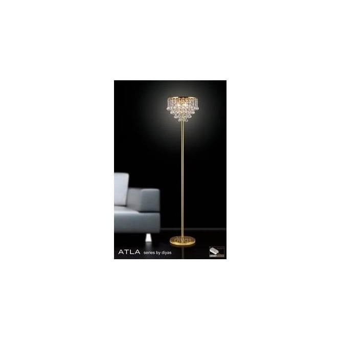 Diyas Lighting IL30032 Atla Gold And Crystal Floor Lamp