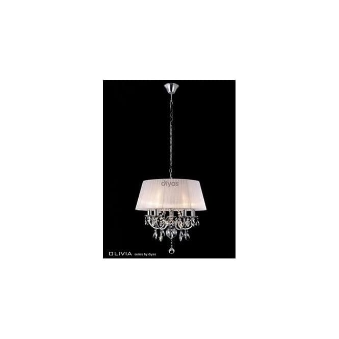 Diyas Lighting IL30046 Olivia 5 Lt Chrome Crystal Pendant With White Shade