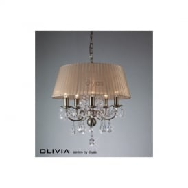 IL30047 Olivia 5 Lt Antique Brass Crystal Pendant With Amber Shade