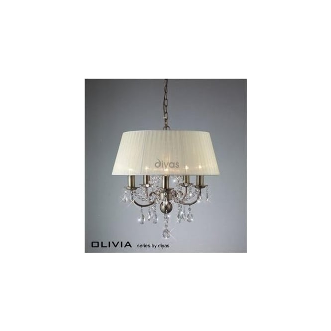 Diyas Lighting IL30048 Olivia 5 Lt Antique Brass Crystal Pendant With Ivory Shade